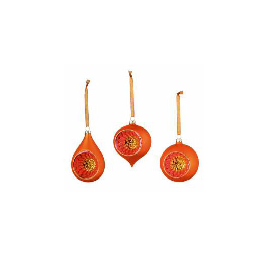 ORANGE GLASS DROP ORNAMENTS / SET OF 3