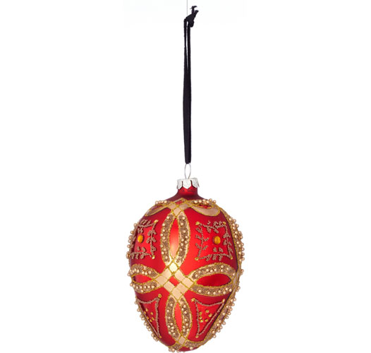 RED AND GOLD EGG ORNAMENT