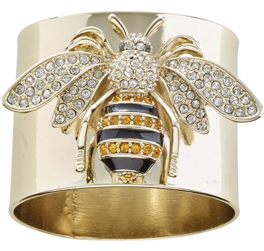 JOANNA BUCHANAN STRIPY BEE NAPKIN RINGS / SET OF 2