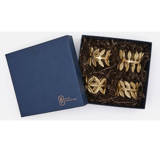 BLUE PHEASANT EMMA NAPKIN RINGS / SET OF 4