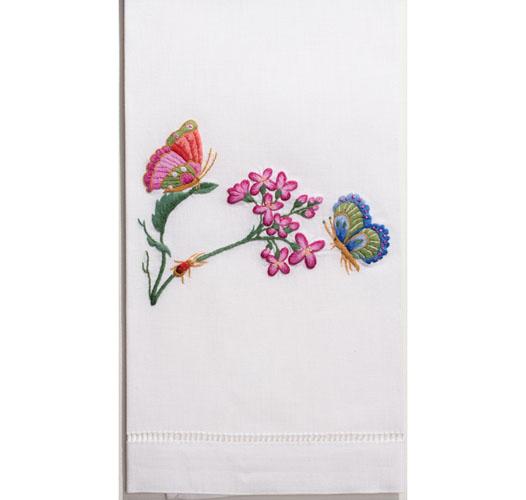 HENRY HANDWORK BUTTERFLIES & FLOWERS GUEST TOWEL