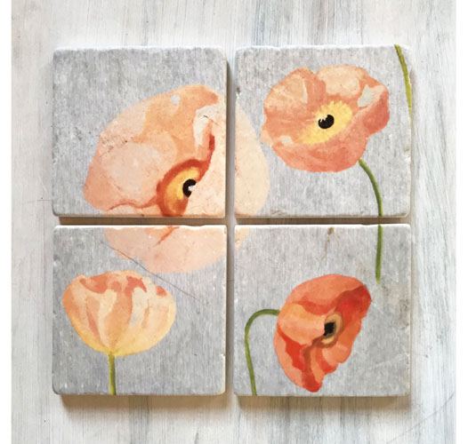 INDIA & PURRY PEACH POPPIES COASTERS / SET OF 4