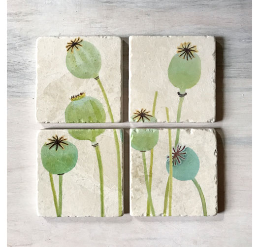 INDIA & PURRY POPPY PODS COASTERS / SET OF 4