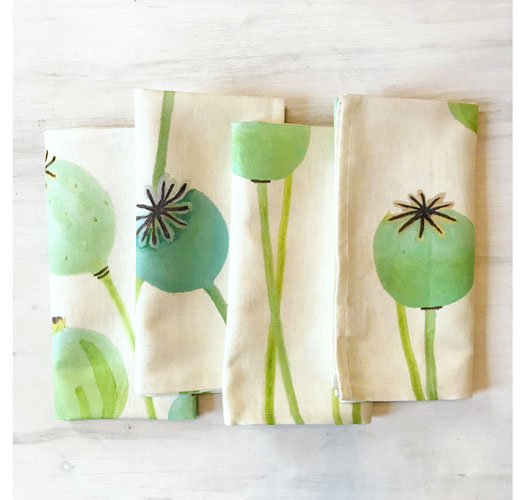 INDIA & PURRY POPPY PODS NAPKINS / SET OF 4