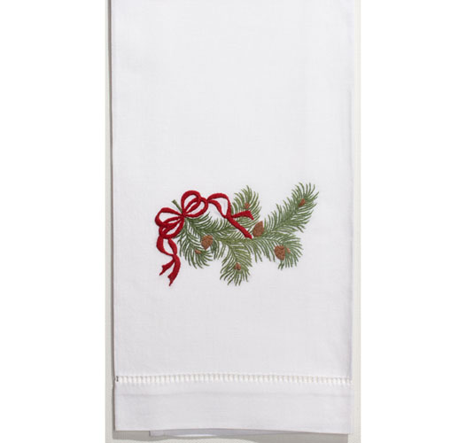 HENRY HANDWORK PINE BOUGH RIBBON GUEST TOWEL