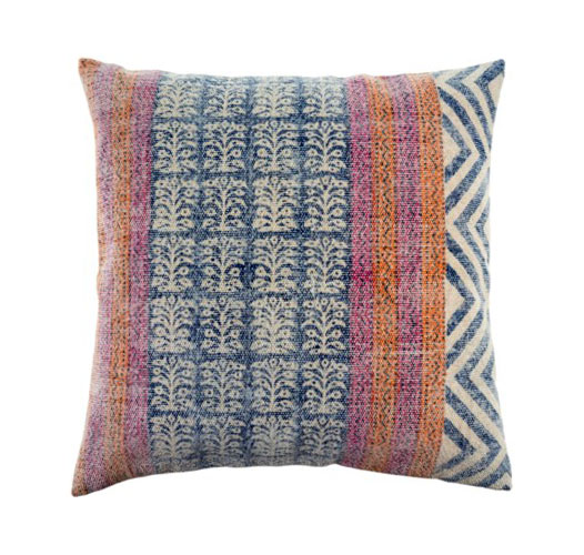 INDABA STONEWASHED MULTICOLORED COTTON PILLOW