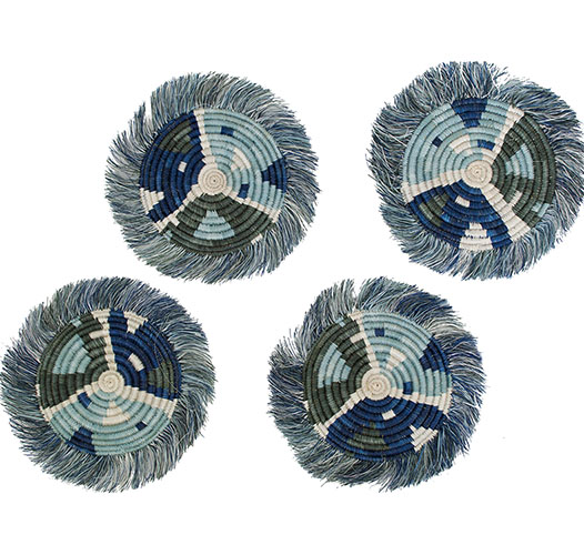 KAZI SILVER BLUE MATISSE FRINGED COASTERS - SET OF 4