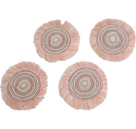 KAZI CLOUD PINK STRIPED FRINGED COASTERS - SET OF 4