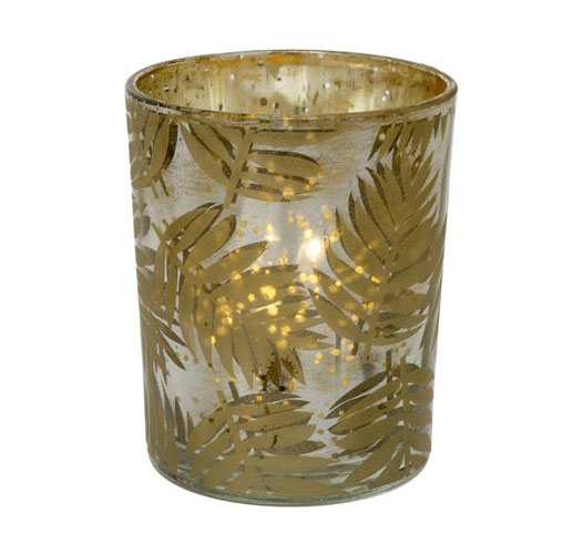 INDABA GOLDEN FERN VOTIVE - SET OF 2