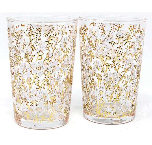 SCENTS AND FEEL MOROCCAN GOLD PAINTED TEA GLASSES - SET OF 6