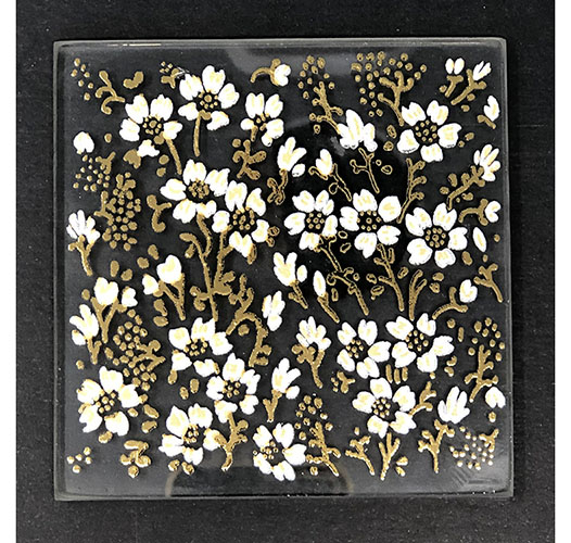 SCENTS AND FEEL GOLD EDEN FLOWER GLASS COASTERS - SET OF 6