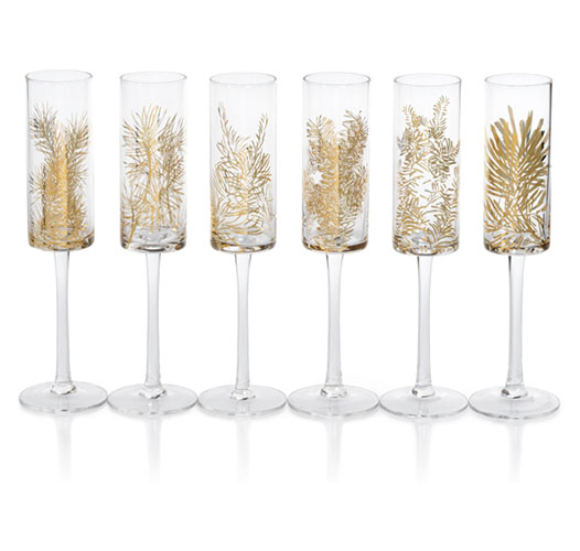 ZODAX GOLDEN FIR CELEBRATION FLUTES - SET OF 6