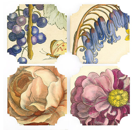 REPROTIQUE HOLLAR FLORAL COASTERS - SET OF 4
