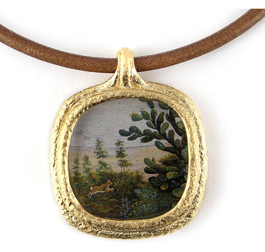 REPROTIQUE BUNNY IN LANDSCAPE FOB NECKLACE