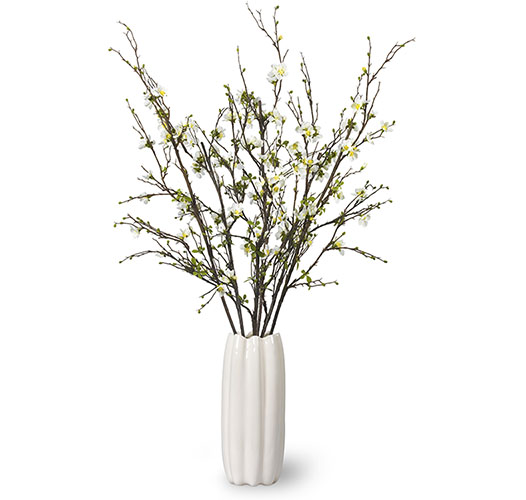 QUINCE BLOSSOMS HAND-TIED BOUQUET IN MIRABELLE TALL VASE - PRE-ORDER