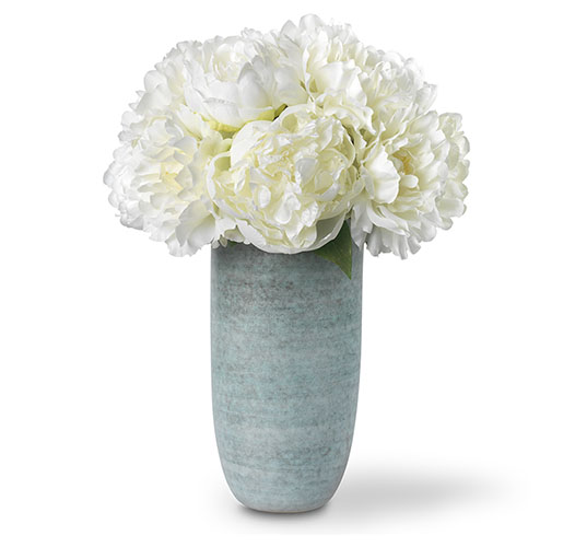 WHITE PEONY HAND-TIED BOUQUET IN CALINDA TALL VASE, BLUE GROTTO