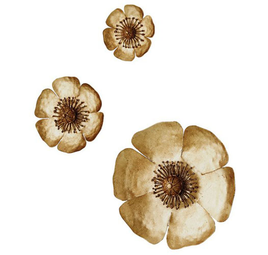 GLOBAL VIEWS GOLDEN POPPIES WALL DECOR / SET OF 3 -PRE-ORDER
