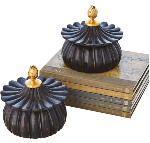 GLOBAL VIEWS CARVED LOTUS BOX