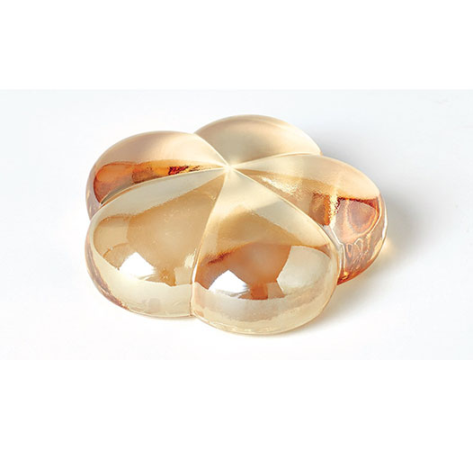 BARBARA BARRY BLOSSOM PAPERWEIGHT - AMBER