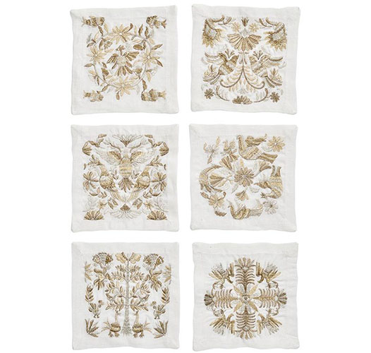KIM SEYBERT OTOMI COCKTAIL NAPKINS IN GOLD & SILVER