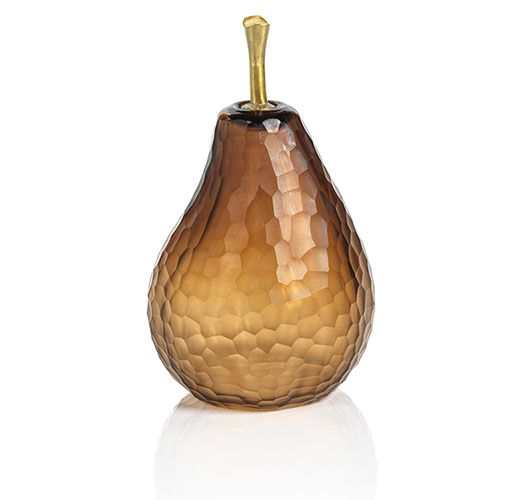 ZODAX SMALL DECORATIVE AMBER CUT GLASS PEAR - PRE-ORDER