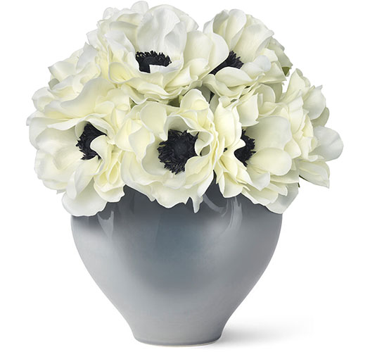 WHITE ANEMONE BOUQUET IN PAOLA SMALL VASE - PRE-ORDER