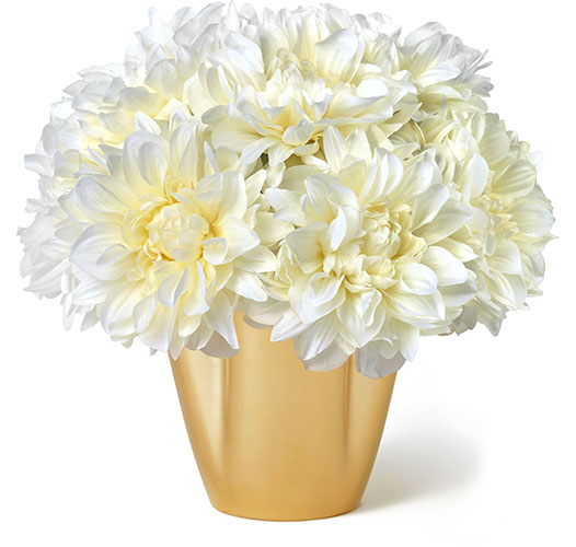 WHITE DAHLIA BOUQUET IN GILDED CLOVER SMALL VASE