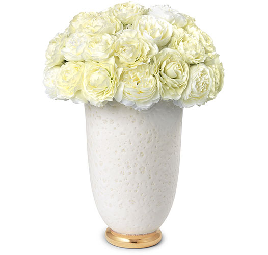 WHITE RANUNCULUS BOUQUET IN MARION TAPERED LARGE VASE