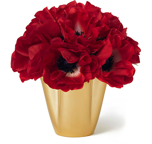 RED ANEMONE BOUQUET IN GILDED CLOVER SMALL VASE