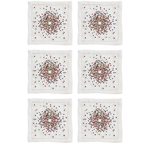 KIM SEYBERT STARBUST COCKTAIL NAPKINS IN WHITE, RED & GREEN