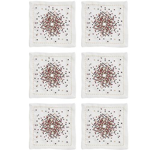 KIM SEYBERT STARBUST COCKTAIL NAPKINS IN WHITE, RED & GREEN