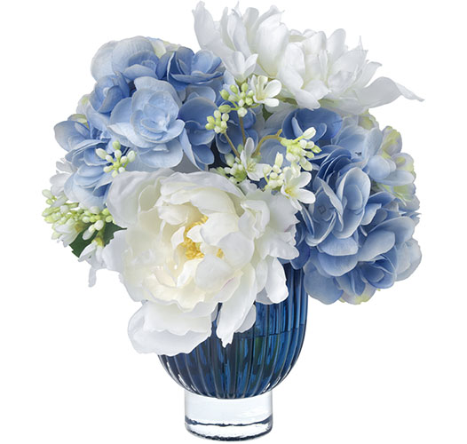 HYDRANGEA AND PEONY ALLURE, BLUE GLASS VASE
