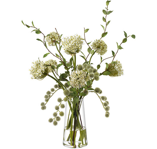 GREEN AND WHITE GRAND BOUQUET, GLASS VASE