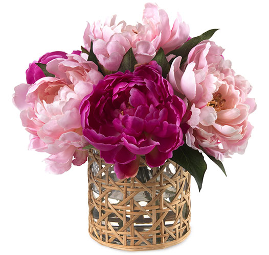 SPLASH OF PINK PEONIES, CANE VASE