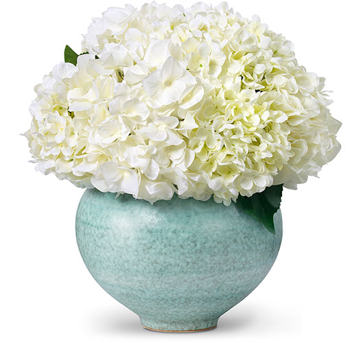 WHITE HYDRANGEA BOUQUET IN CALINDA MOON VASE